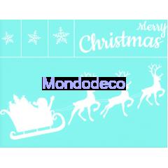 Stencil adesivo con scritta Merry Christmas e slitta Babbo Natale adatto alle ns decorazioni