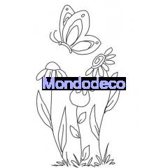Timbro ad alta definizione con fiori stilizzati adatto alle ns creazioni