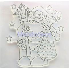 Timbro ad alta definizione con Babbo Natale stile country adatto alle ns creazioni