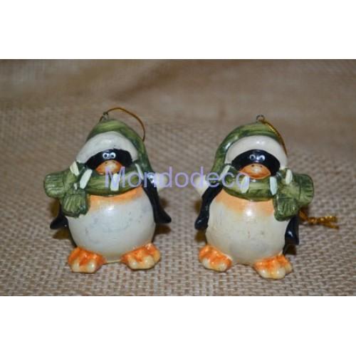 Pinguino in ceramica per decorazioni
