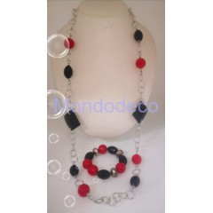 Collana e braccialetto rosso e nero con catena