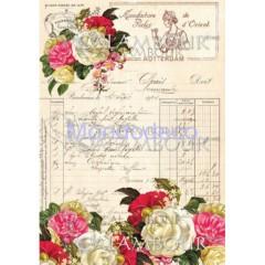Carta di riso disegnata per decoupage con fiori e scritte
