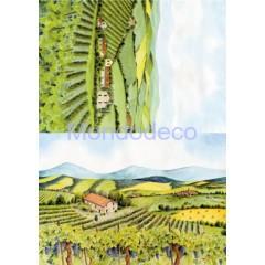 Carta di riso disegnata per decoupage  con paesaggio toscano CO 36