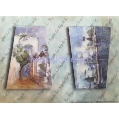 Carta di riso disegnata per decoupage con paesaggio adatto per tegole