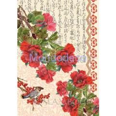 Carta di riso disegnata per decoupage  con texture fiori TCR 22