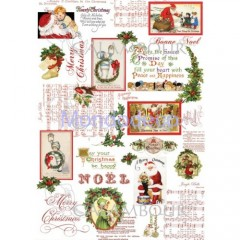 Carta di riso disegnata per decoupage  con NOEL  DIGITAL COLLECTION DGR277