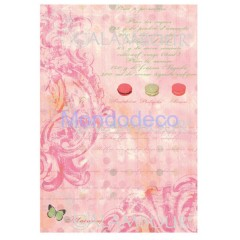 Carta di riso disegnata per decoupage  con texture rosa DIGITAL COLLECTION DGR181