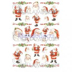 Carta di riso disegnata per decoupage  con Babbo Natale PAU 23