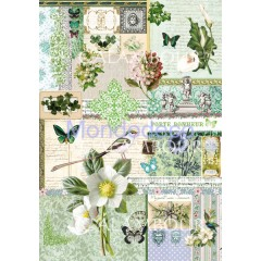 Carta di riso disegnata per decoupage  con texture fiori DIGITAL COLLECTION  DGR223