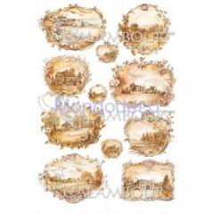 Carta di riso disegnata per decoupage  con paesaggio monocolore PAU 15