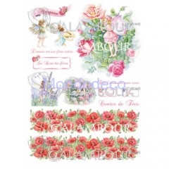 Carta di riso disegnata per decoupage  con fate DIGITAL COLLECTION  DGR203