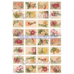 Carta di riso disegnata per decoupage  con rose DIGITAL COLLECTION DGR154