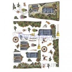 Carta di riso disegnata per decoupage  con soggetti per tegola CO05