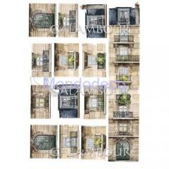 Carta di riso disegnata per decoupage  con balconi e finestre adatto per tegola CO11
