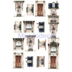 Carta di riso disegnata per decoupage  con balconi e finestre adatto per tegola CO13