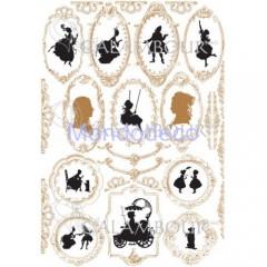 Carta di riso disegnata per decoupage  con carrozza con decorazioni in oro PAU 82