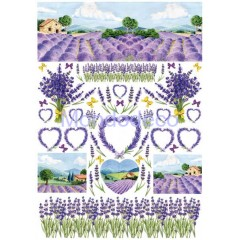 Carta di riso disegnata per decoupage  con Lavender PAU51