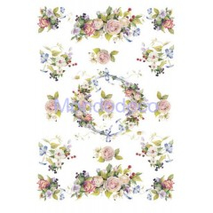 Carta di riso disegnata per decoupage  con Ghirlanda di fiori PAU-02