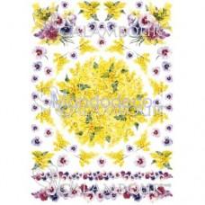 Carta di riso disegnata per decoupage  con fiori PAU54