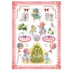 Carta di riso disegnata per decoupage  con topolini  in festa per Natale DGR198