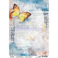 Piuma Carta di Riso disegnata per decoupage The sound of spring - Dancing butterfly
