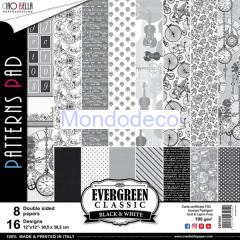Blocco Carte Scrapbooking - Evergreen Classic Black & White Double-Sided Patterns BTE001