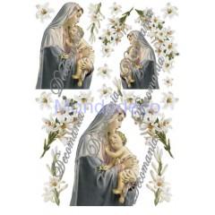 Carta per decoupage con Madonna - Classica Evasione Serie 1 cod. S1218