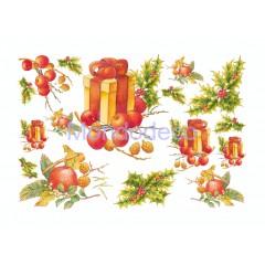 Carta per decoupage con soggetto Natale e pacchi dono