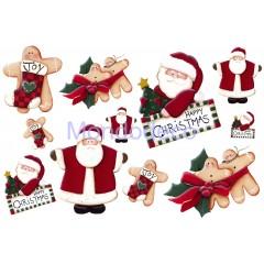 Carta per decoupage con Babbo Natale e gingerbread