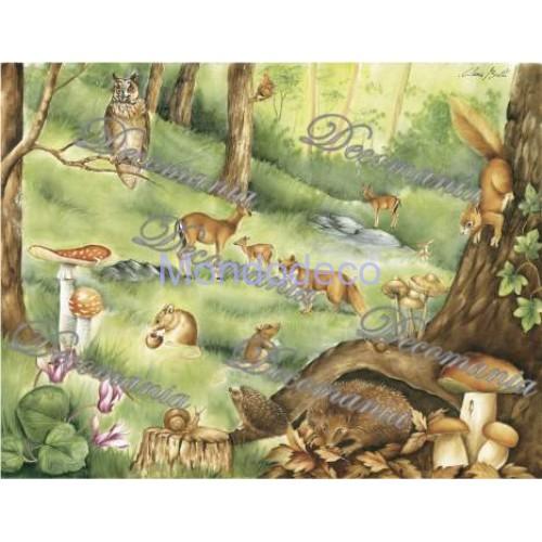 Carta per decoupage con animali nel bosco - Classica Serie 9 cod. 097