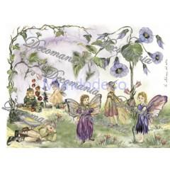Carta per decoupage con fate e fiori - Classica Serie 8 cod. 089
