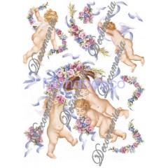 Carta per decoupage con Angioletti, putti e fasci di rose  - Classica Serie 5 cod. 041