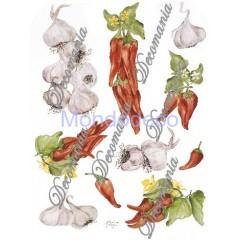 Carta per decoupage con aglio e peperoncini - Classica Serie 5 cod. 050
