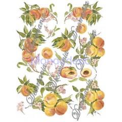 Carta per decoupage con pesche e fiori - Classica Serie 6 cod. 058/bis