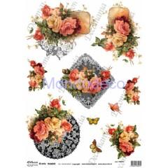 Carta per decoupage - Riflessi di carta transfer con Rose miste e Farfalle TRA017