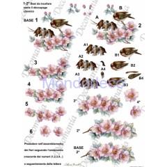 Carta da decoupage realizzata per la creazione di bellissimi effetti 3D Uccellini Estate Stagioni 3D006