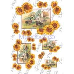 Carta per decoupage con girasoli e paesaggio oche Evasioni - serie 5 cod. S1254