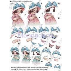 Carta da decoupage realizzata per la creazione di bellissimi effetti 3D  Bimbe mezzo busto 3D022