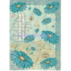 Carta di riso disegnata per decoupage  con Fiori gerbere color tiffany e scritte Serie 26 cod. 5381