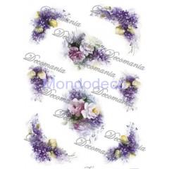 Carta di riso disegnata per decoupage  con rose e violette - Serie 2 cod. 5015