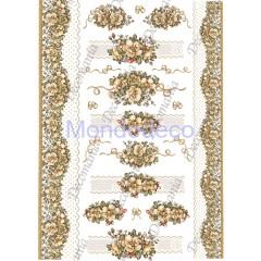 Carta di riso disegnata per decoupage  con Fiori ocra e cornici monocolore - Serie 26 cod. 5386
