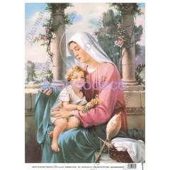 Carta di riso disegnata per decoupage  con Madonna con bambino - Serie 8 cod. 5138
