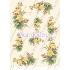 Carta di riso disegnata per decoupage  con rose gialle - Serie 4 cod. 5057