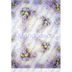 Carta di riso disegnata per decoupage  con violette e fiori viola - Sonie Ames - riso - serie 1 cod. 7712