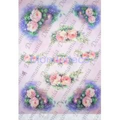 Carta di riso disegnata per decoupage  con rose violette piccole - Sonie Ames - riso - serie 1 cod. 7711
