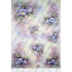 Carta di riso disegnata per decoupage  con campanule azzurre - Sonie Ames - riso - serie 1 cod. 7709