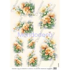 Carta di riso disegnata per decoupage  con rose arancioni - Sonie Ames - riso - serie 3 cod. 7733