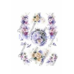 Carta di riso disegnata per decoupage  con rose e uccellini - Serie 3 cod. 5034