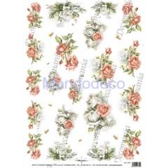 Carta di riso disegnata per decoupage  con Rose Bianche e rosa - Serie 10 cod. 5182