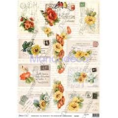 Carta di riso disegnata per decoupage  con cartoline scritte e fiori Serie 19 cod. 5303